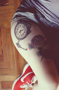 Clock tattoo, leg tattoo