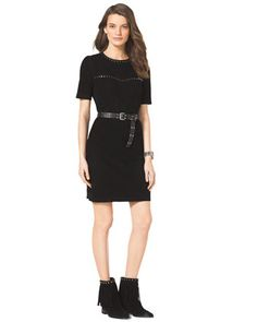 Women's Michael Kors Studded Belted Suede Dress