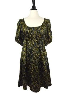 H&M Size 6 Gold & Black Scoop Neck Empire Waist Dress Womens Bubble Sleeve EUC #HM #EmpireWaist #WeartoWork
