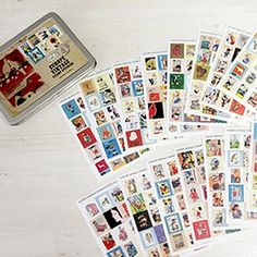 Vintage+Stamp+Stickers+in+Tin+Case+/+Europe+Vol.+2++16+sheets
