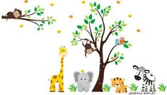 """Baby Nursery Wall Decals Safari Jungle Children's Themed 86"""" X 127"""" (Inches) Animals Wildlife: Repositionable Removable Reusable Wall Art: Better than vinyl wall decals: Superior Material Nursery Wall Decals http://www.amazon.com/dp/B00EQGB878/ref=cm_sw_r_pi_dp_AoQUvb17XWY3E"""