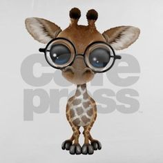 This adorable design by artist Jeff Bartels features a small baby giraffe. The majestic African animal is standing and looking forward with its large black eyes. Large eye glasses sit on the giraffes