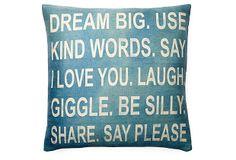 One Kings Lane - Pillow Talk - Dream Big 20x20 Pillow, Teal