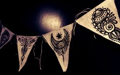 Henna Mehndi Burlap Triangle Pennants Prayer Flags Bunting, set of 5, black   www.facebook.com/behennaed  tags: Home & Living  Home Décor  Ornaments & Accents  Ornaments  henna  mehndi  moon  zen  yoga  meditation  Tibet prayer  jute  natural  India  Morocco  wedding