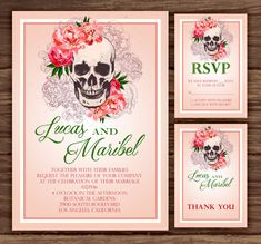 Peony Skull: Wedding Invitation Suite Print By MyBerryDesigns