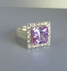 Amethyst & Topaz Ring, Vintage Sterling Silver Cocktail Ring, Multi Stone Statement Ring, Size 8 - pinned by pin4etsy.com