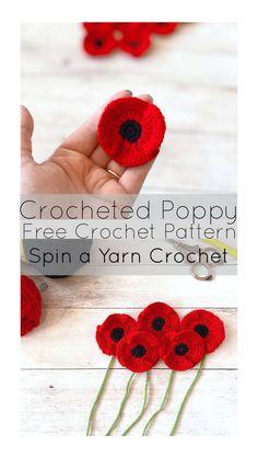 Crocheted Poppy Free Crochet Pattern by Spin a Yarn Crochet Crochet Crafts, Crochet Yarn, Crochet Flowers, Crochet Stitches, Crochet Projects, Yarn Crafts, Lace Flowers, Crochet Poppy Free Pattern, Poppy Pattern