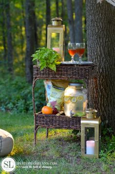 Outdoor snacking station! Love!