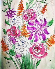 Watercolour Flower Sketchbook Painting with black pen by NyxStudioArt Watercolor Flowers, Watercolour, 2d Art, Nyx, Garden Plants, Artwork, Painting, Black, Pen And Wash