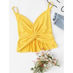 Twist Front Cami Top ($8) ❤ liked on Polyvore featuring tops, yellow, yellow tank top, camisole tank top, v neck camisole, sexy crop top and cami tank
