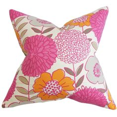 This floral throw pillow is rich with bright and appealing hues. Create a lovely allure in your living space by adding a splash of color in pink, orange, gray and white.