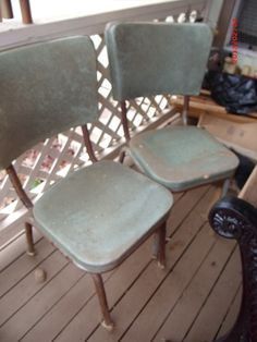 My grandmothers chrome dinette chairs before I started my restore