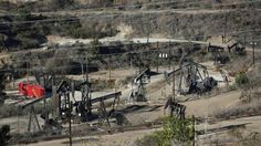 Oil wells pumping oil.