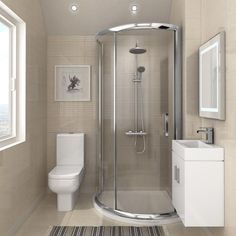 Planning an update to your ensuite bathroom? This small master bathroom showcases a stylish way of incorporating a corner shower enclosure, bathroom vanity cab Small Bathroom Layout, Small Bathroom With Shower, Small Showers, Tiny Bathrooms, Ensuite Bathrooms, Modern Bathroom, Corner Showers, Bathroom Vanities, Small Basement Bathroom