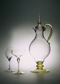 Simon Gate (Swedish, 1883-1945), Orrefors, Blown Glass Pitcher.