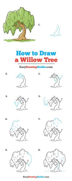 Trees Drawing Tutorial, Flower Drawing Tutorials, Drawing Tutorials For Kids, Art Tutorials, Drawing Ideas, Cartoon Trees, Landscape Drawings, Landscapes, Cute Tiny Tattoos