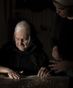 tzia Cesaria, making Lorighittas A journey in Sardinia, old ladies make pasta. by Antonio Saba, via Behance
