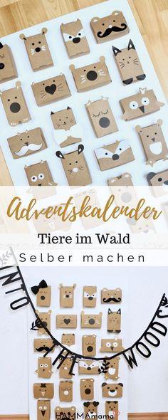 Eine süße Idee Adventskalender selber zu basteln. Aus Pappkarton kann man viele Tiere einfach machen. Also DIY!