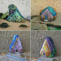 4 painted rock houses