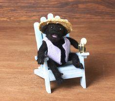 Cute Black Needle-Felted Miniature Chimpanzee  Black Needle-Felted Miniature Chimpanzee by DinkyWorld on Etsy