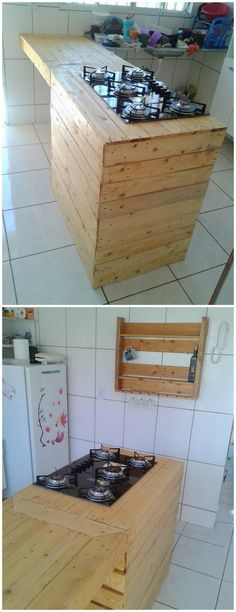This wood pallet recycling idea is featuring a simple and easy designed wood pallet table for your kitchen purpose. You can purposely use this table for placing your stove on it. This creation is additionally featuring a wood pallet rack on the wall where you can settle glasses or kitchen accessories.