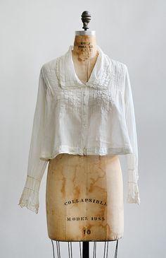 antique 1910s edwardian square stitches blouse