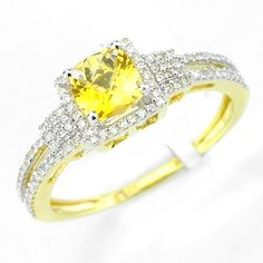 This beautiful citrine diamond gemstone ring has a 0.57ct checkerboard cut citrine main stone in a prong setting. There are round cut diamonds in prong settings with a total weight of 0.21cts. The color and clarity are H/I and I1/I2 respectively. $326.00