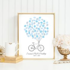 Baby Fingerprint Guestbook A4 - Bicycle - Baby shower - Birthday - Thumbprint Guestbook - Single bike- Guest book -Digital file-Alternative by SEEONEE on Etsy https://www.etsy.com/listing/231891990/baby-fingerprint-guestbook-a4-bicycle