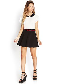Prep School Skater Skirt w/ Belt | FOREVER 21 - 2000064185 $15