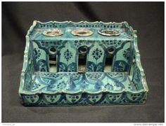Encrier d´Enlumineur à Godets Faïence Maroc Safi Ecole Lamali céramique début XXème Moroccan ceramic