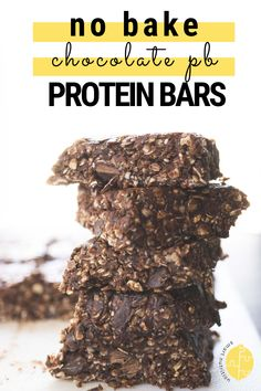 No Bake Chocolate Peanut Butter Protein Bars Yummy Healthy Snacks, Yummy Appetizers, Easy Snacks, Easy Healthy Recipes, Healthy Treats, Delicious Recipes, Healthy Life, Healthy Food, Healthy Eating