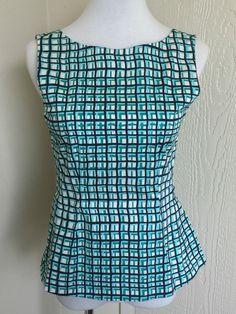 Kate Spade size S green graphic print cotton sleeveless peplum top  #katespade #Peplum #Casual