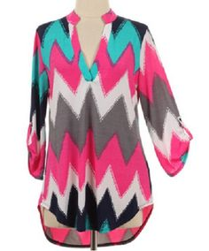 Out on the Town Pink and Blue Chevron Print Blouse Top