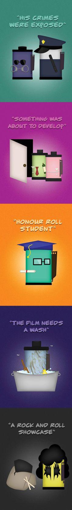 A series of pun illustrations revolving around film rolls. Enjoy!