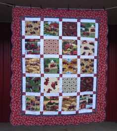 Farmall/IH quilt made with samples of different tractor prints, scalloped border.