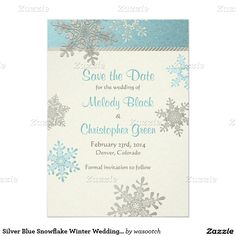 Silver Blue Snowflake Winter Wedding Save the Date 5x7 Paper Invitation Card