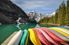 Credit: Mark Randall/GuardianWitness : The vibrant colours of these canoes together with the startling colour of the lake behind caught my eye while staying at Moraine Lake in Banff national park, Canada. It was morning and the canoes were lined up ready for visitors to use on the lake that day.