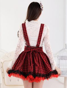Red Polyester Lace Dandy Lolita Skirts - Milanoo.com