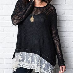 Curvy Black Knit Top with White Lace