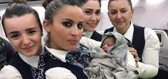 Turkish cabin crew help woman give birth on flight, In The Air, --- - 06 Apr 2017.  Neugeboren: Einen etwas untypischen Lebensstart hatte der kleine Kadiju. Das Baby kam auf einem Flug der Turkish Airlines von Istanbul nach Burkina Fasos Hauptstadt Ouagadougou auf die Welt - mit Hilfe der Stewardessen.  Quelle: PRESS OFFIC/REX/Shutterstock/Rex Features