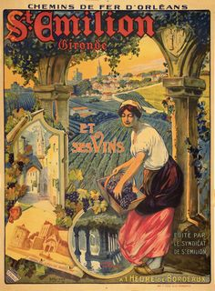 1910 St-Emilion , Bordeaux, France vintage travel poster