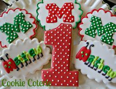 Caterpillar Decorated Cookies Birthday Party Cookie Favors by CookieCoterie, $27.00