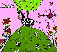 There is a Cow on the Hill In Mo's Garden by Maureen Zaharie