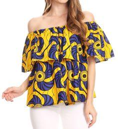9bf3ee3148591 Sakkas Imani Colorful Wax African Ankara Dutch Off-shoulder Blouse Top  Gorgeous