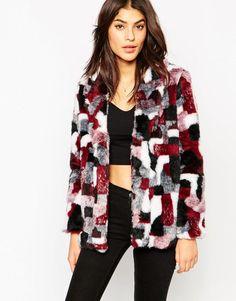 Πολύχρωμο γούνινο παλτό
