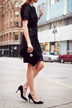 Holiday Outfit, Party Dressing, Sequin Top, Sequin Pencil Skirt, Black Pumps, Black Velvet Clutch, Red Lipstick @anntaylorstyle