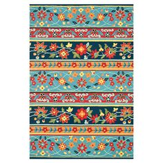 Handcrafted floral rug.   Product: RugConstruction Material: 100% PolyesterColor: Blue and multi