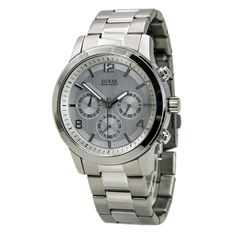 Guess U13577G1 Men's Silver Dial Stainless Steel Bracelet Chronograph Watch,