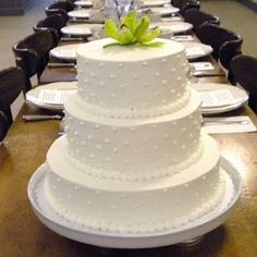 Our cake is going to be somewhat similar to this. Tiers, with chocolate opera cake on the inside, buttercream frosting with Swiss dots on the outside. We'll have some real flowers on it, matching what we have in the bouquets and on the tables. I'm going to be attempting to make our cake topper.