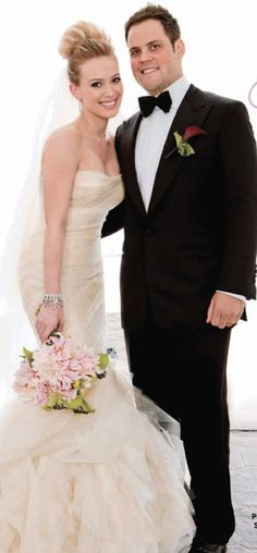 Hillary Duff wore a stunning custom Vera Wang mermaid gown for her wedding to Mike Comrie on August 14th, 2010 in Santa Barbara, California.  Vera Wang gowns are sold at The Bridal Salon at Saks Jandel.